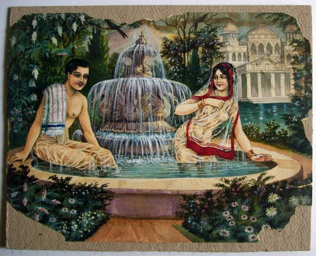 man-and-woman-bathing-together-romantic-vintage-painting-by-bk-mitra